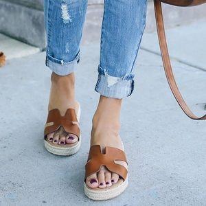 Shoes - Tan Espadrille Slides